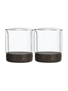 Set 2 pahare cu pereti dubli, Hovac, 2 x 200 ml, suport silicon Coffee Culture, pahare termice, termorezistente
