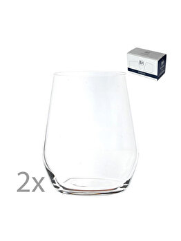 Set 2 pahare cristal apa, suc, racoritoare, cristal Bohemia, model Broggi, transparent, 380 ml imagine