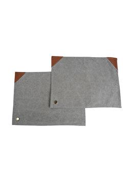 Set 2 naproane textil/piele, Gusta, suport din bumbac pentru farfurie, 45 x 32 cm, gri-maro imagine