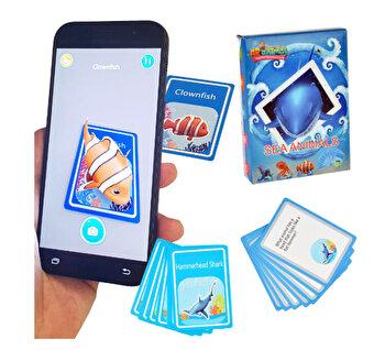 Cartonase pentru aplicatie telefon 3D, cartonase de invatare a vietuitoarelor marine in engleza, set de 48 cartonase cu vietuitoare marine si descrierea lor, joc de invatare si atentie pentru copii, AR animals