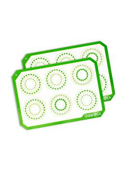 Foaie antiaderenta, folie copt silicon, set 2 foi pentru cuptor, inlocuieste hartia de copt, reutilizabil, 29.5 x 21 cm, Quasar&Co, alb / verde imagine