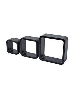 Set de 3 etajere Duraline, cub, colturi rotunjite, 28 x 28 x 10 cm, 24 x 24 x 10 cm, 20 x 20 x 10 cm, negru imagine 2021