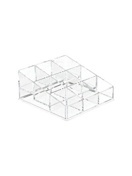Organizator cosmetice, accesorii, bijuterii, 9 locuri, 12.5x13x5.5 cm, Relaxdays, transparent elefant imagine 2021