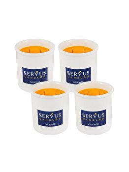 Set 4 Lumanari Parfumate Orange, cu 2 fitiluri din lemn imagine