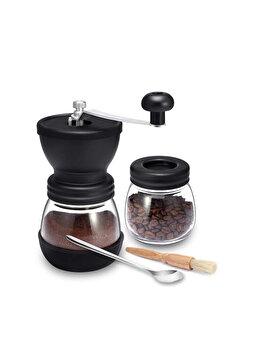 Rasnita manuala pentru cafea, Quasar&Co., cu borcan depozitare si pensula curatare, lingurita, mecanism ceramica, sticla/silicon/lemn, transparent/negru imagine