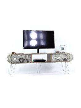Comoda TV, 151 x 48 x 30 cm, PAL/metal, culoare stejar, Quasar&Co. imagine