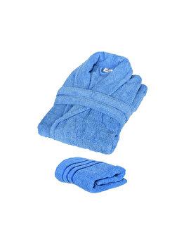 Set Halat de baie si prosop, Quasar&Co., 100% bumbac, halat baie gros, 1.1 kg, prosop de fata, 50 x 90 cm, albastru, L/XL imagine
