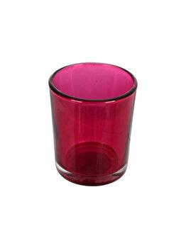 Set 4 suporturi de lumanari tip pastila, Rasteli, sticla, diam. 5.5 cm, h 6.5 cm, fucsia transparent, art. 5906 imagine