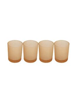 Set 4 suporturi de lumanari tip pastila, Rasteli, sticla, diam. 5 cm, h 6.5 cm, crem mat, art. 7106 imagine