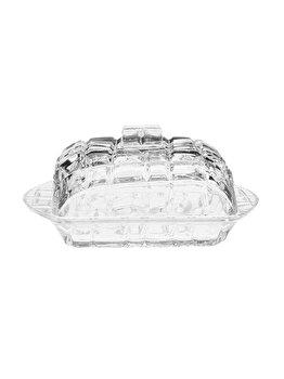 Untiera cu capac din sticla, recipient pentru unt, ultrarezistent, Kaveh, transparent, L17 cm, l11 cm, h8 cm imagine