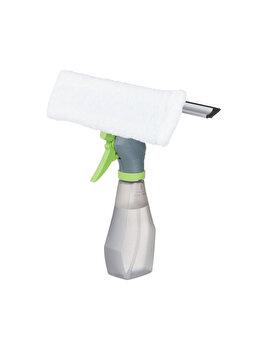 Pulverizator cu laveta si lamela de cauciuc pentru curatat geamurile, sticla si accesorii spalare ferestre, Relaxdays, plastic, textil, gri