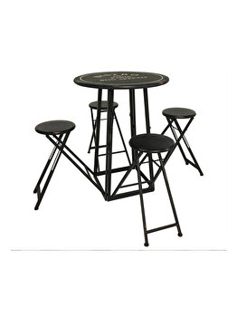 Masa rotunda din metal cu 4 scaune, pliabile, rabatabila, vintage, set de gradina, terasa, Bistro de Paris, D 77 cm, H 103 cm, negru imagine