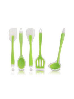 Ustensile bucatarie din silicon termorezistent, set de 5, polonic, lingura, paleta, spatula dreapta, spatula curbata, 5 x ustensila bucatarie, Quasar&Co., verde