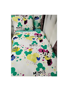 Lenjerie de Pat, Bumbac Ranforce Lux, Model Minnie si Mickey Crem, 2 persoane, 70X70, 180X200, 4 piese elefant
