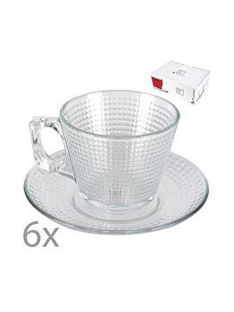 Set 6 cesti si 6 farfurioare, 195 ml, diametru farfurie 137 mm, serviciu de cafea/ceai, Pasabahce