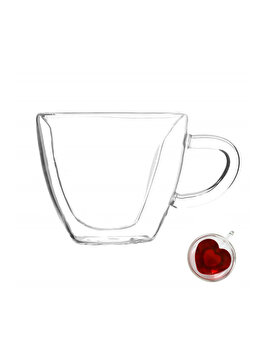Cana cu pereti dubli Quasar&Co., 250 ml, interior forma inima, termorezistenta, transparent imagine