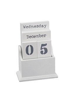 Calendar perpetuu din lemn cu placute pentru zile si luni, vintage/retro, alb, Relaxdays imagine 2021