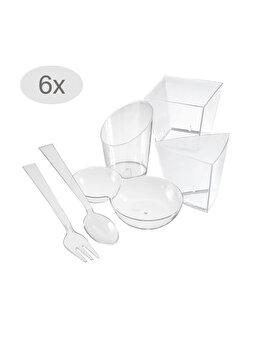 Set cupe servire aperitive/desert, 36 piese, 24 recipiente + 6 lingurite + 6 furculite, plastic, cupe plastic pentru servire, 24 x 50 ml, candy bar, Duni imagine