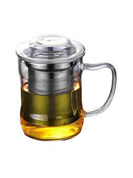Cana cu infuzor metalic, Quasar & Co., 320 ml, sticla/metal, transparent