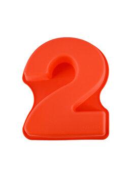 Forma de copt din silicon cifra 2, termorezistenta de la -40 la +230 grade C, h 23.5, mare, forma de tort/prajitura in forma cifrei 2, tava cifra 2, tava copt, tava silicon, rosu, Quasar&Co.