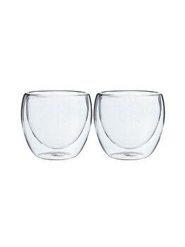 Set 2 pahare din sticla cu pereti dubli, Quasar & Co., 250 ml, termorezistente, design modern, h 9 cm, d 8 cm elefant