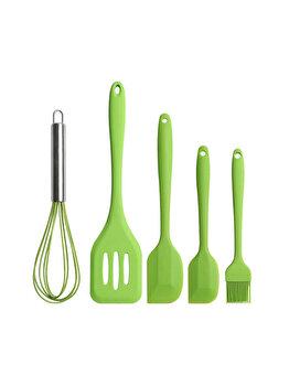 Set 5 ustensile bucatarie, Quasar&Co., spatula mare, paleta, tel, pensula, spatula mica, silicon, verde