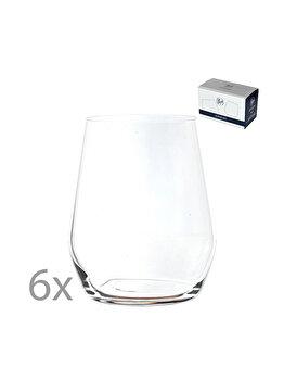 Set 6 pahare pentru apa/suc/racoritoare, cristal Bohemia, model Broggi, transparent, 380 ml imagine