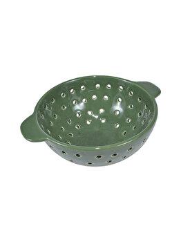 Strecuratoare ceramica, sita ceramica cu manere pentru uz frecvent sau decorativ, d 17 cm, h 8 cm, verde, J-Line imagine 2021