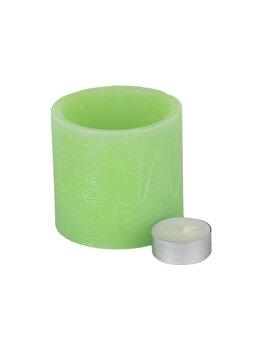 Suport din ceara pentru lumanare pastila (inclusa), Muller, lucrat manual, d 8,5 cm, h 8 cm, vas de ceara cu lumanare pastila, bol de ceara, verde imagine 2021