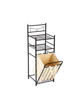 Raft metalic pentru baie, organizator cu 2 polite si cos de rufe, 38 x 35.5 x 105 cm, Mesa Living, maro inchis imagine 2021