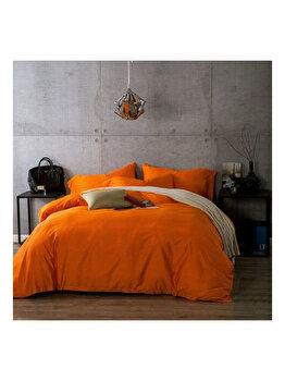 """Lenjerie de pat Bumbac Ranforce Lux, Model """"Orange Uni"""", 2 persoane, 70X70, 220X200, 4 piese"""