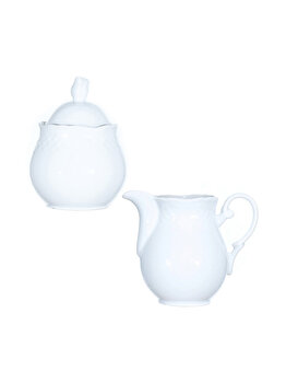 Zaharnita si latiera din portelan, La Porcellana Bianca, set servire zahar, miere, lapte, frisca, 200 ml, alb imagine