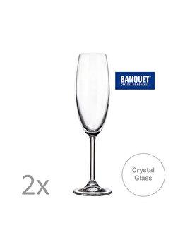 Set 2 pahare sampanie, Bohemia Cristal, Degustation, 220 ml