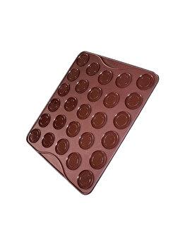 Tava copt Macarons, foaie copt macarons, Quasar&Co., 27 de forme rotunde, forma pentru prajituri/fursecuri, folie macarons rezistenta la temperaturi de pana la 250 grade C, 29 x 26 cm, tava silicon, maro imagine