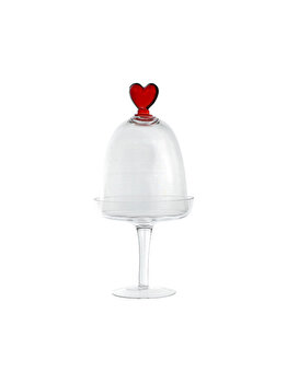 Platou tip clopot pentru prajituri/bomboane, Cosy&Trendy, sticla, picior sticla cu capac cupola, diametru 12 cm, h 26 cm, model inima imagine