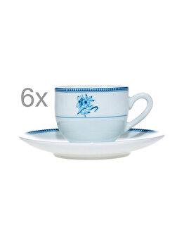 Serviciu cafea, set de 12, set 6 cesti cu 6 farfurii cafea/expresso, set servire cafea, 6 x ceasca + 6 x farfurie, model floricele, 100 ml