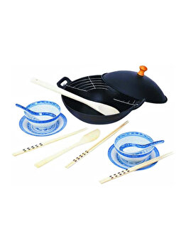 Set oriental pentru gatire si servire cu tigaie wok din fonta si vesela din portelan, Beka, 25 cm, capac metalic, gratar de inox imagine