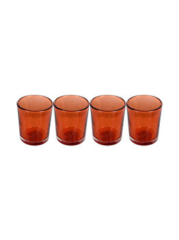 Set 4 suporturi de lumanari tip pastila, Rasteli, sticla, diam. 5.5 cm, h 6.5 cm, portocaliu transparent, art. 5906.1 imagine