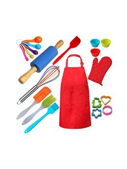 Set 23 piese cofetarie/patiserie copii, Quasar & Co., ustensile de gatit pentru copii, sort, manusa, cupe masurare, forme briose, spatula, pensula, forme biscuiti, tel, sucitor imagine 2021