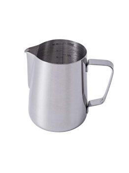 Cana din inox, latiera pentru spumare cu maner, cana de lapte sau cappucino, cu cioc, cana pentru bar, cana barista, 600 ml, h 11 cm, Maxx