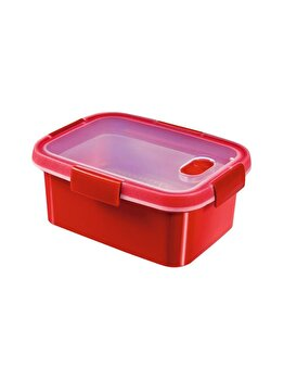 Cutie alimente MICRO-WAVE, CURVER, 1.2 L, pentru microunde folosire pentru gatit cu aburi, 20.3 x 8.8 x 15.4 cm, dreptunghiulara, plastic, Rosu imagine 2021