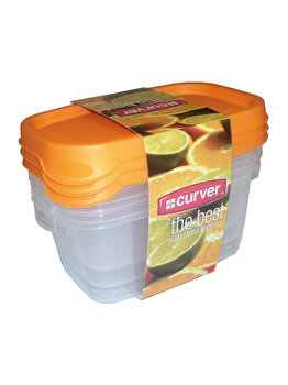 Set 3 cutii alimente CURVER, 3 x 0.5 L, 14.8 x 9.5 x 7 cm, plastic, Galben imagine 2021