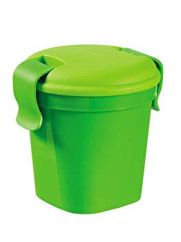 Pahar S cu capac LUNCH & GO, CURVER, 0.4 L, 10.7 x 11 x 12 cm, plastic, Verde