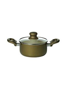 Oala ceramica capac 24 cm, No name, 30645, aluminiu, Verde imagine
