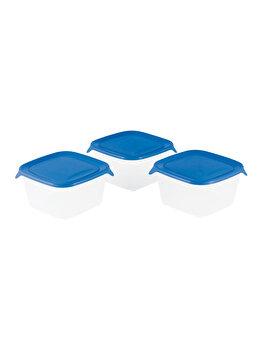 Set 3 cutii alimente FRESH&GO CURVER, 1.20 L, 15.5 x 15.5 x 12 cm, plastic, Albastru imagine