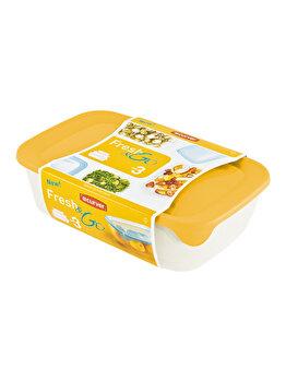 Set 3 cutii alimente FRESH&GO CURVER, 0.5 L + 1 L + 2 L, 26 x 7.4 x 17 cm, plastic, Galben