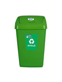 Cos gunoi cu capac batant pentru reciclare selectiva, 50 L, HR-PW-4550V, plastic, Verde
