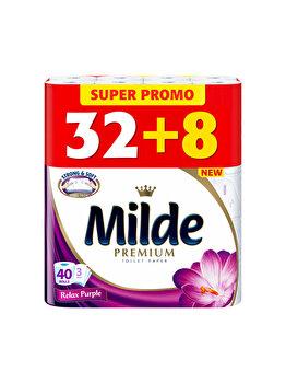 Hartie igienica Milde Relax Purple, 3 straturi, 32+8 role imagine