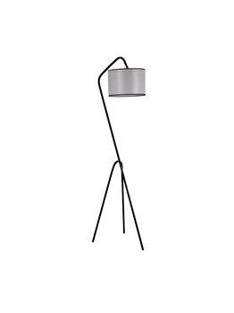 Lampadar Luin 8302-4, corp negru, abajur gri imagine