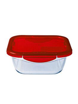 Recipient patrat cu capac de plastic 1.9 L, Ocuisine, 40415, sticla termorezistenta, Rosu imagine